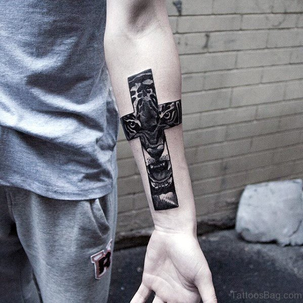 Tiger Cross Tattoo On Wrist