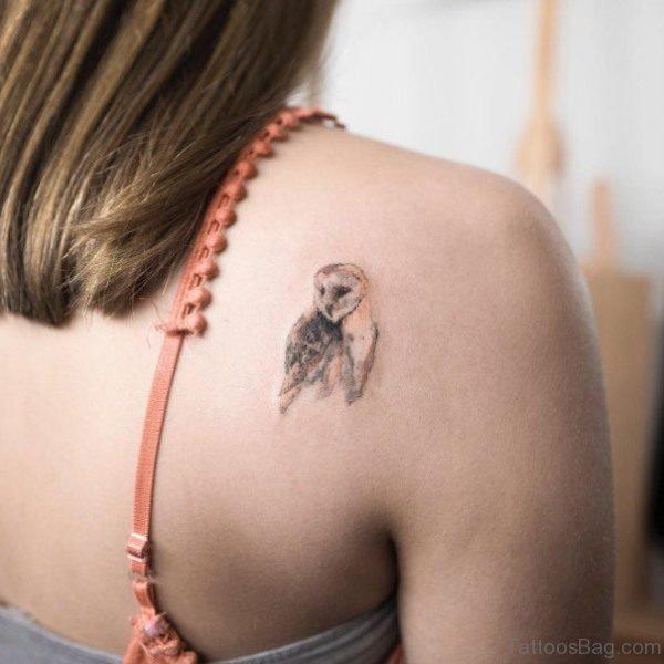 Tinny Owl Shoulder Tattoo