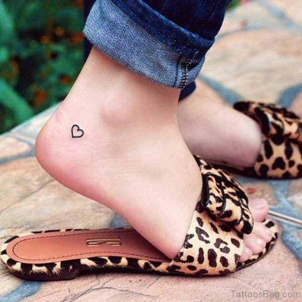 Tiny Ankle Heart Tattoo