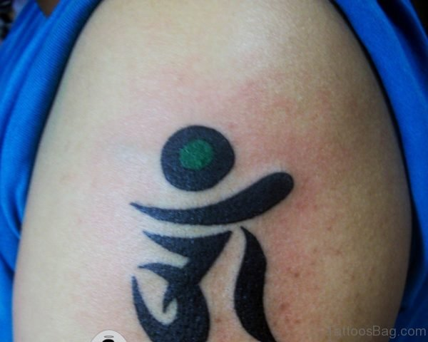 Tiny Om Tattoo On Shoulder