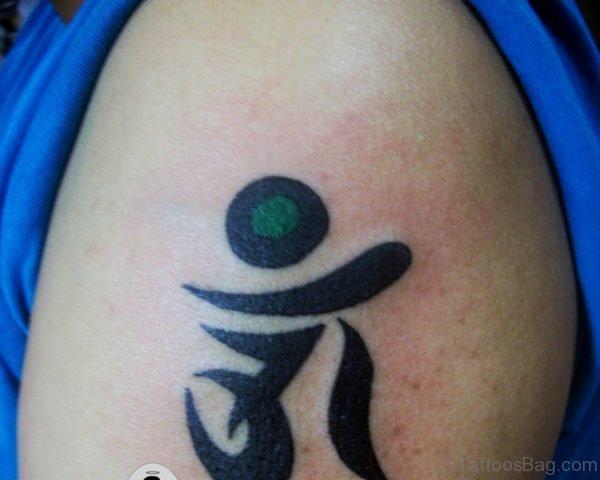 Tiny Om Tattoo On Shoulder