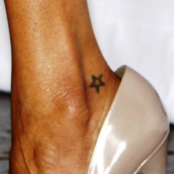 Tiny Star Tattoo On Ankle