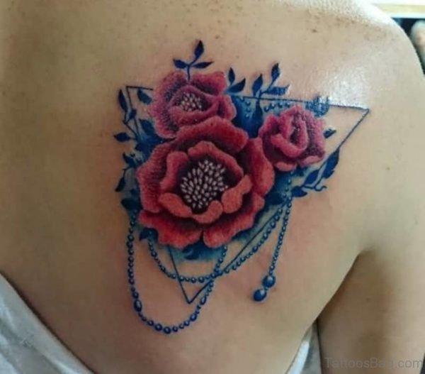 Traditional Aqua Flower Tattoo Design In Upper Back