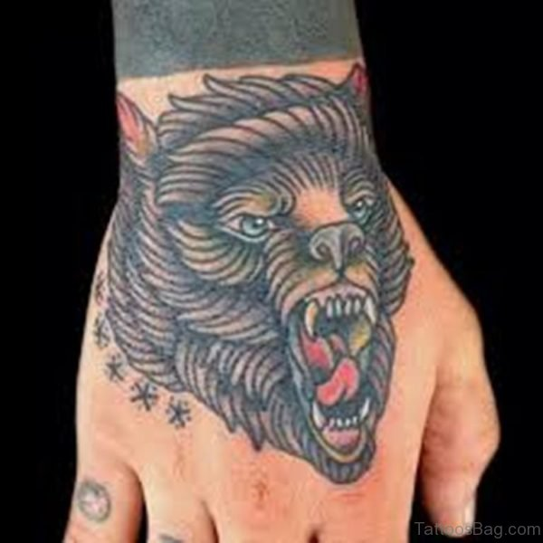 Traditional Bear Hand Tattoo