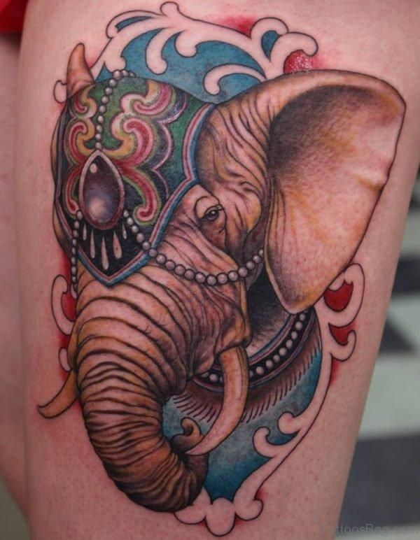 Traditional Elephant Thigh Tattoo