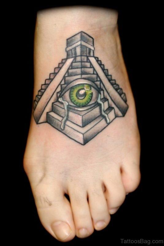 Traditional Eye In Mayan Pyramid Tattoo On Foot