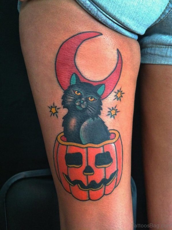 Traditional Halloween Cat Tattoo