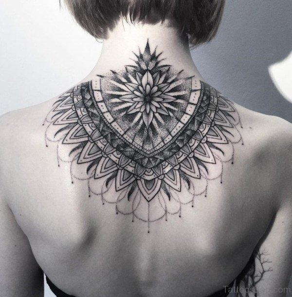 Traditional Mandla Tattoo On Neck