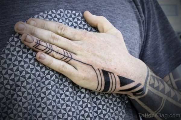 Traditional Nice Tribal Tattoo On Left Hand