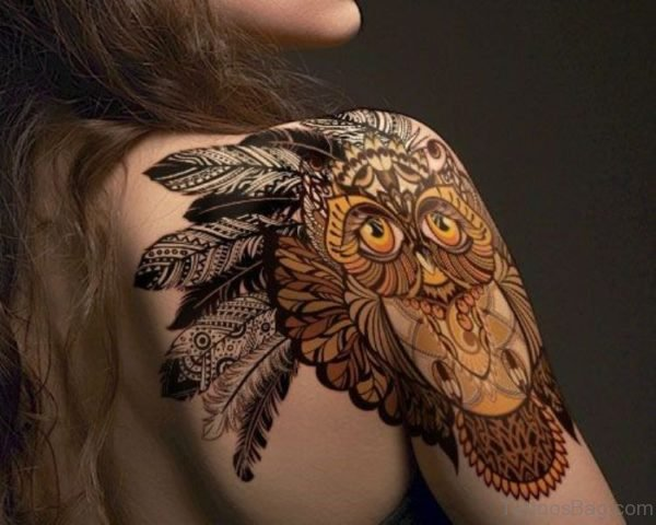 Traditional Owl Tattoo On Shoulder