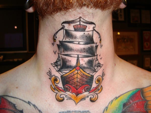 Traditional Pirate Ship Tattoo On Neck
