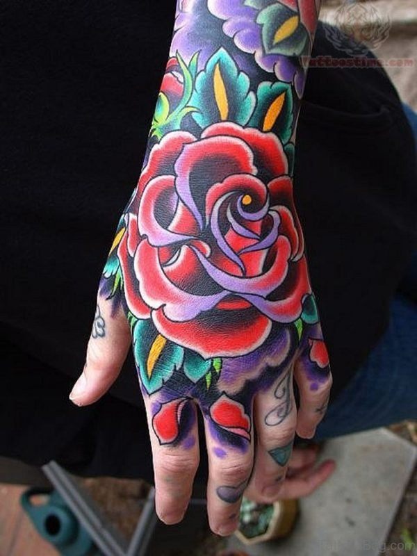Traditional Rose Tattoo For Hand