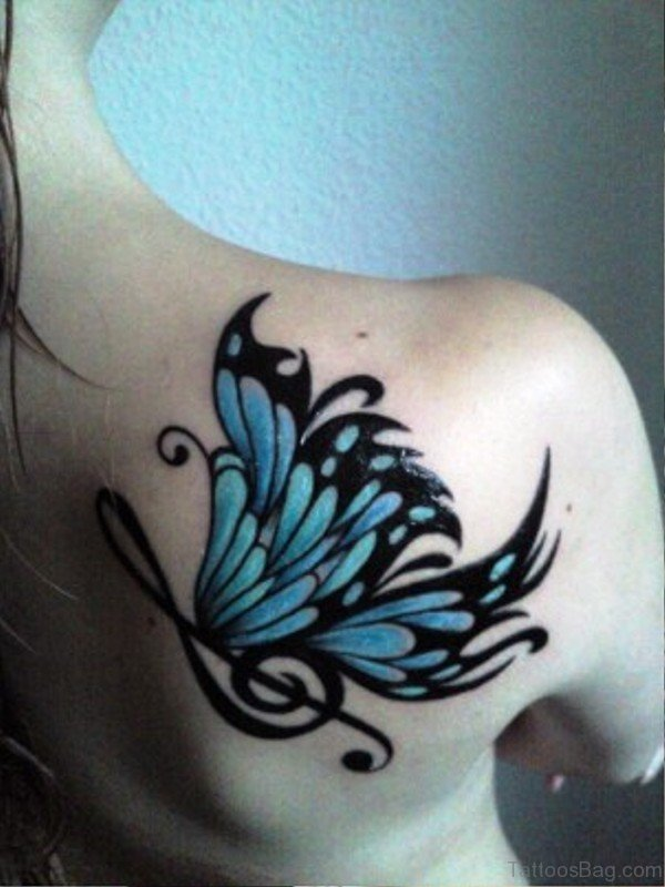 Treble Clef Butterfly Tattoo On Shoulder
