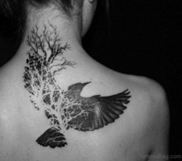 Tree And Bird Tattoo On Nape