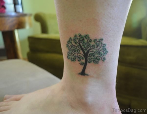 Tree Tattoo On Ankle