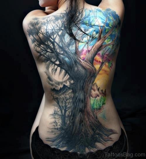 Tree Tattoo On Back Body