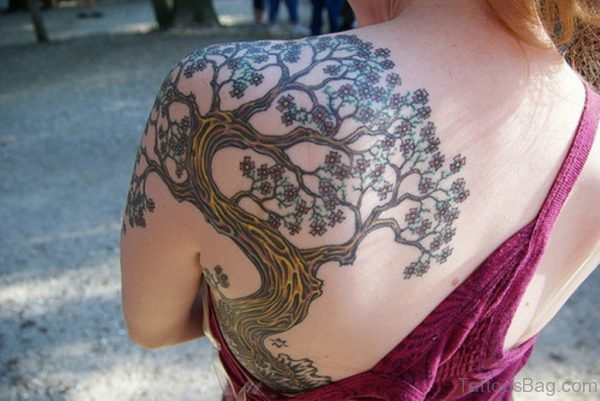 Tree Tattoo On Back Shoulder