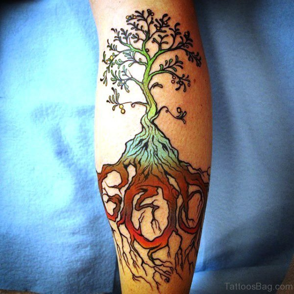 Tree Tattoo On Calf
