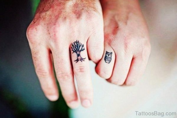 Tree Tattoo On Finger