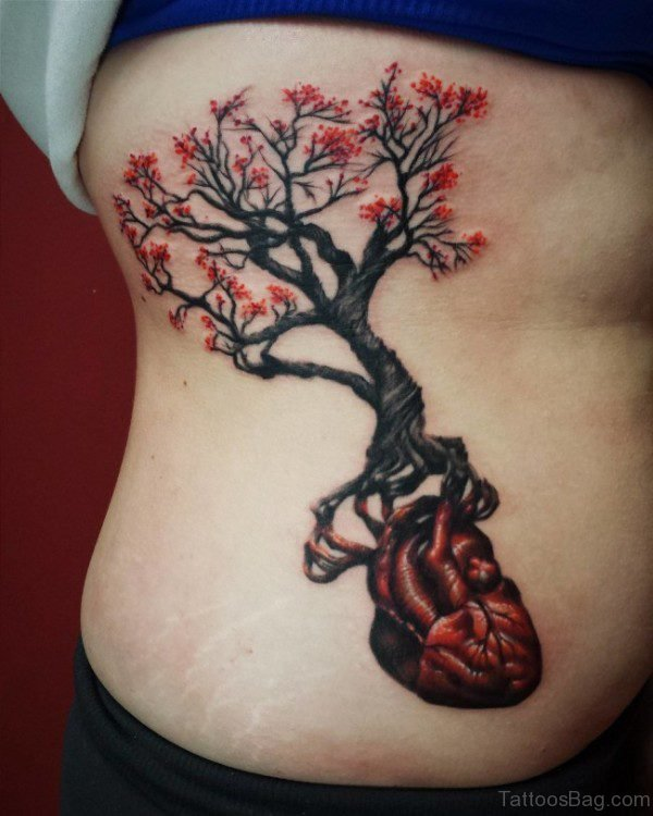 Tree Tattoo On Rib