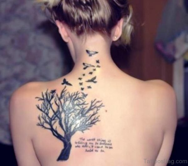 Tree With Birds Tattoo On Back Shoulder