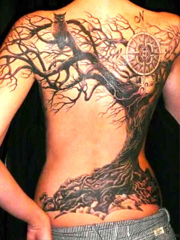 Tree With Owl Tattoo On Back