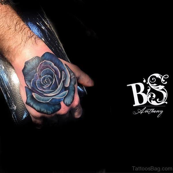 Trendy Blue Rose Hand Tattoo