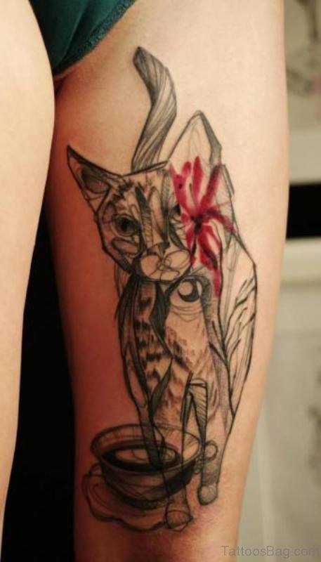 Trendy Cat Tattoo On Thigh