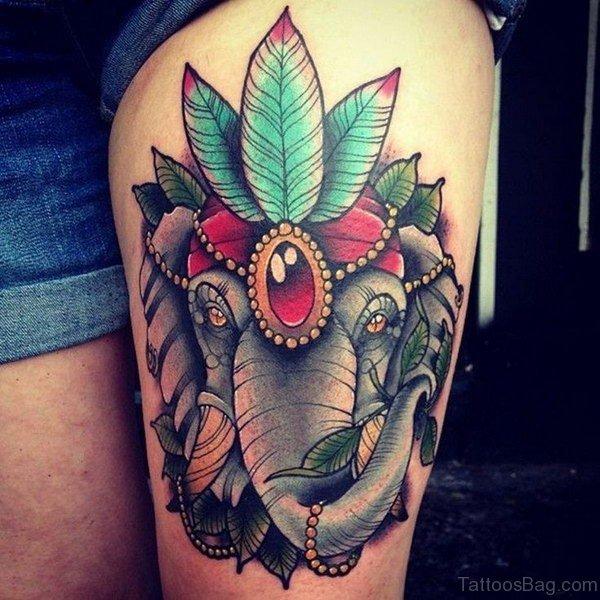 Trendy Elephant Tattoo On Thigh