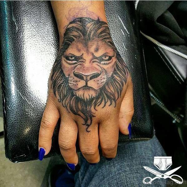 Trendy Lion Head Tattoo On Hand