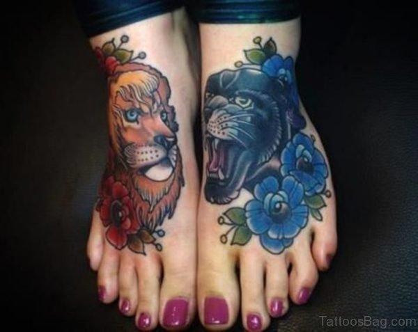 Trendy Lion Tattoo On Foot