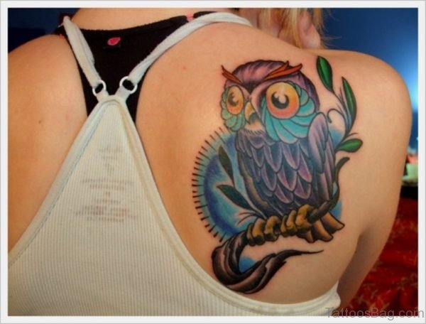 Trendy Owl Shoulder Tattoo