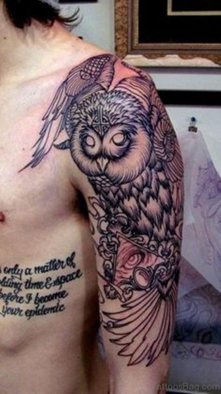 Trendy Owl Tattoo On Shoulder