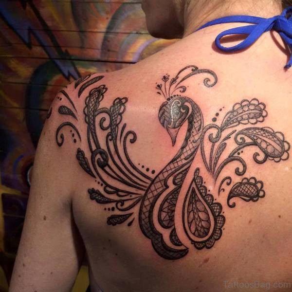 Trendy Peacock Back Tattoo