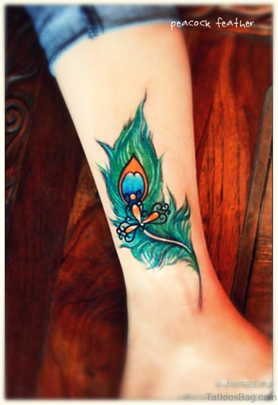 Trendy Peacock Feather Tattoo On Leg