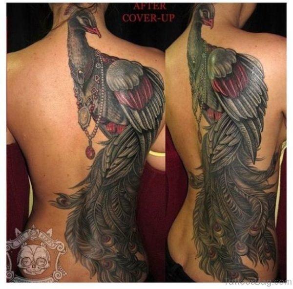 Trendy Peacock Tattoo On Back