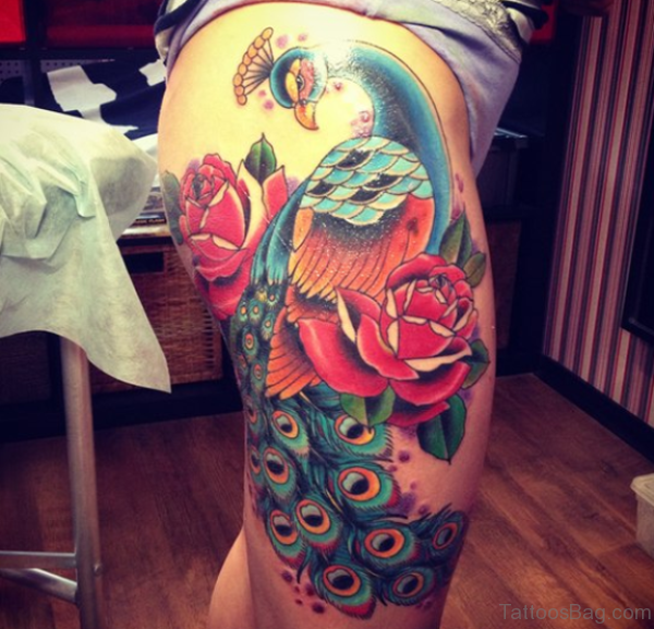 Trendy Peacock Tattoo On Thigh
