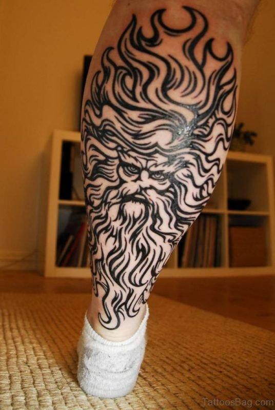 Trendy Tribal Tattoo On Leg