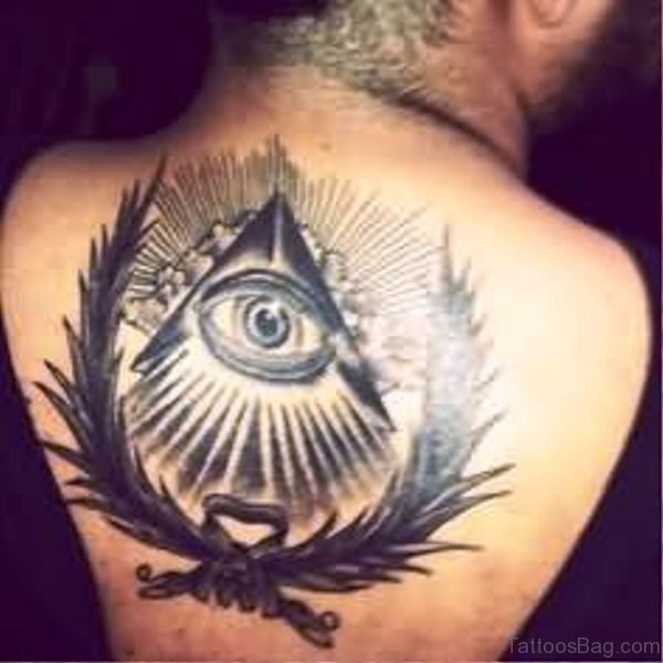 Triangle Eye Tattoo On Back