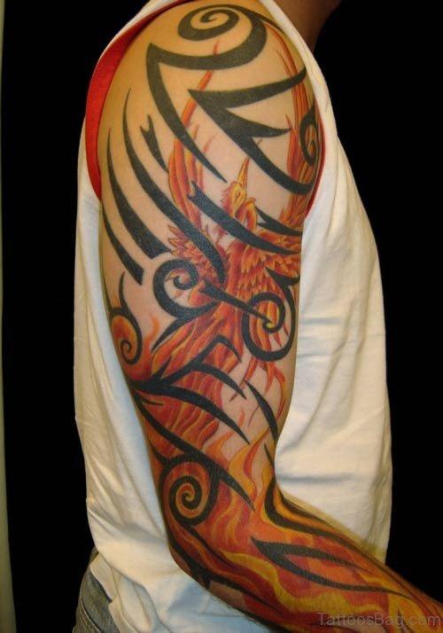 Tribal And Phoenix Tattoo On Full Sleeve