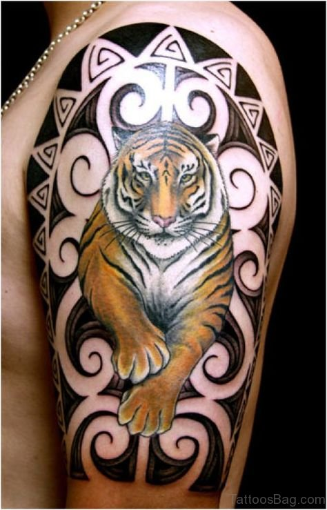 Tribal And Tiger Tattoo On Shoulder
