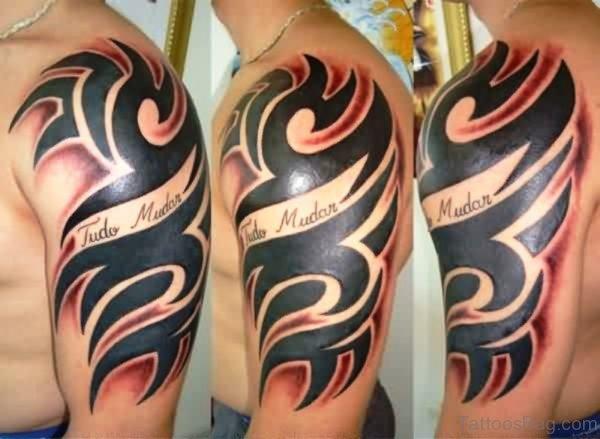 Tribal Black Tattoo On Shoulder