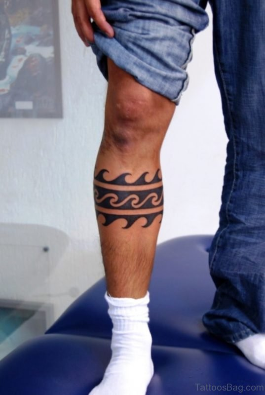 Tribal Calf Tattoo For Men