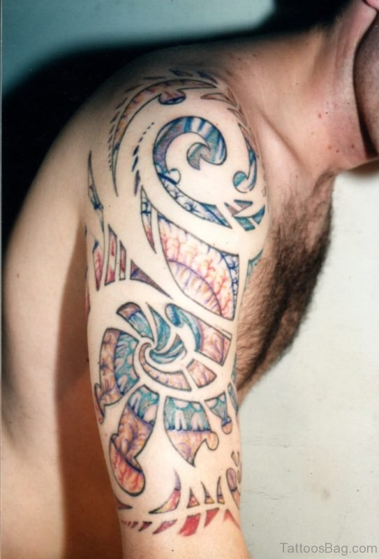 Tribal Colorful Shoulder Tattoo