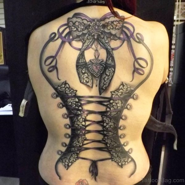 Tribal Corset Tattoo On Back