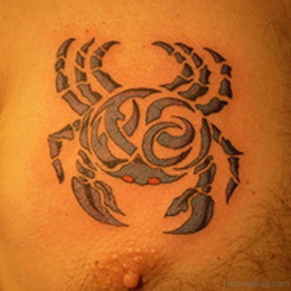 Tribal Crab Cancer Zodiac Tattoo On chest
