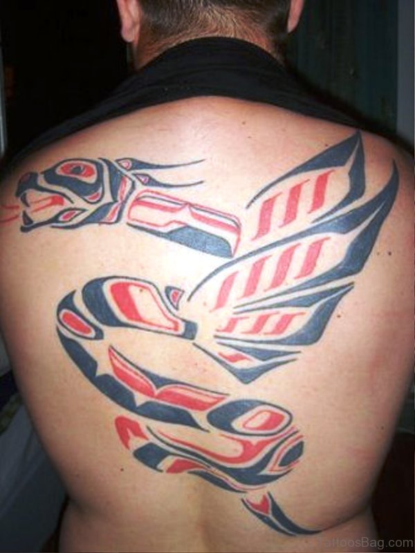 Tribal Dragon Tattoo On Back
