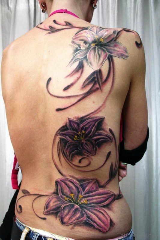 Tribal Flowers Tattoo On Back