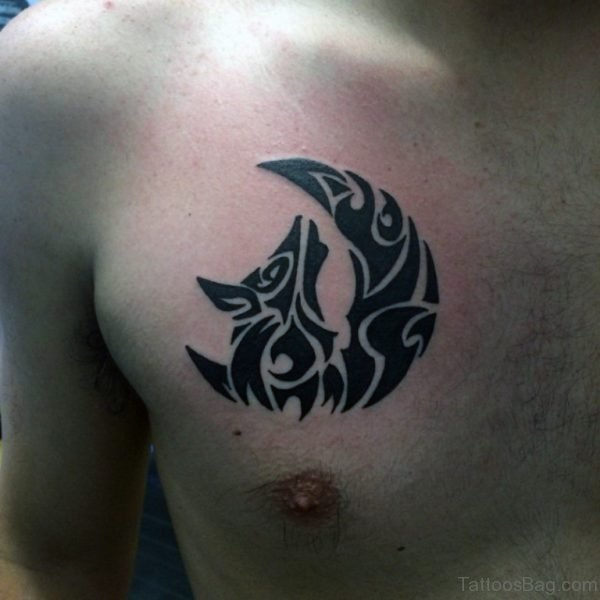 Tribal Moon And Wolf Tattoo