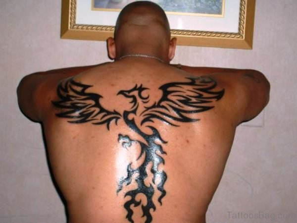 Tribal Phoenix Tattoo On Back